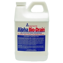 Alpha Bio-Drain 1/2 Gallon Bottle 4/case Bio-Drain,biologic drain maintainer,drain cleaner,animal care facility drain maintenance,green friendly drain maintainer,kennel drain additive